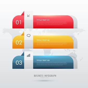 Modèle de conception infographique d'entreprise à trois étapes