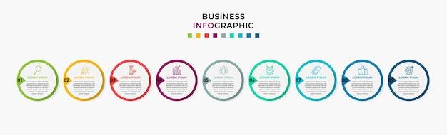 Modèle de conception infographique entreprise vector avec icônes et 9 neuf options ou étapes