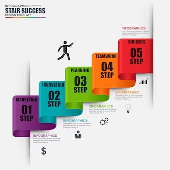 Modèle de conception infographique escalier étape vecteur. peut être utilisé pour le flux de travail, succès d'escalier
