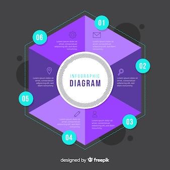 Modèle de conception infographique hexagone plat