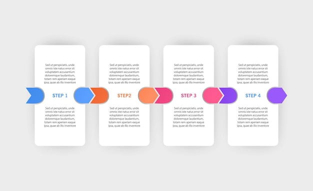 Un modèle de conception infographique avec des icônes et 4 options ou étapes peut être utilisé pour le diagramme de processus