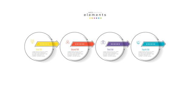 Modèle de conception infographique avec icônes et 4 options ou étapes.
