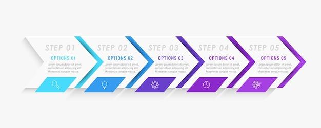 Modèle de conception infographique avec des icônes et 5 options ou étapes.