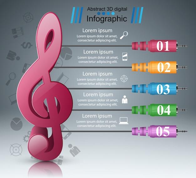 Modèle de conception infographique et icônes marketing. icône de note.