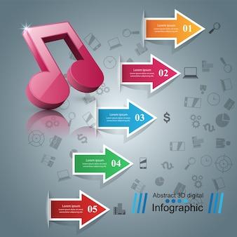 Modèle de conception infographique et icônes de marketing.