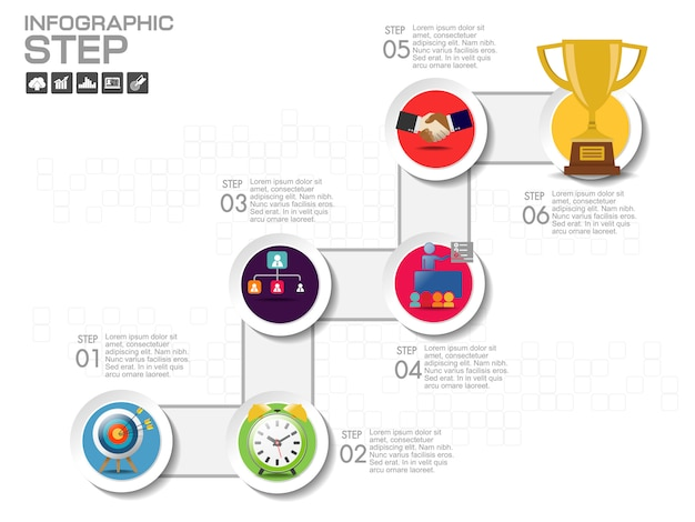 Modèle de conception infographique avec des icônes et des options