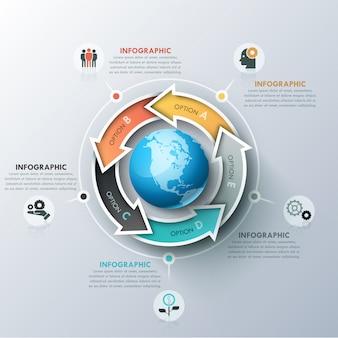 Modèle de conception infographique inhabituel avec 5 flèches colorées situées autour de la sphère, des icônes et des zones de texte