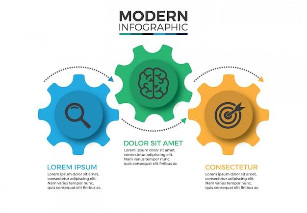 Modèle de conception infographique de mécanisme commercial avec icônes et 3 options ou étapes