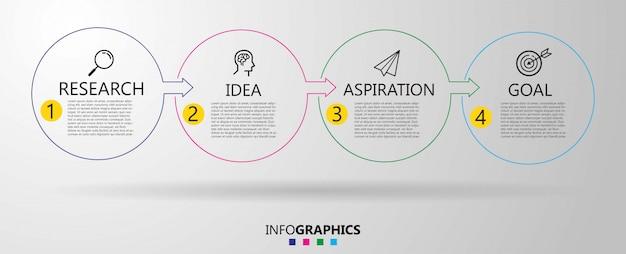 Modèle de conception infographique métier avec des icônes et 4 quatre options ou étapes.