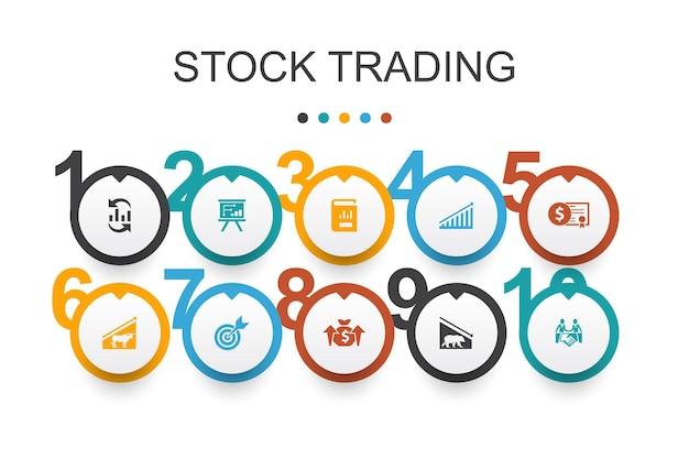 Modèle de conception infographique de négociation d'actions. marché haussier, marché baissier, rapport annuel, cibler des icônes simples