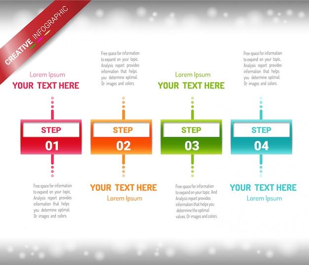 Modèle de conception infographique avec numéros 4option pour présentation infographique.