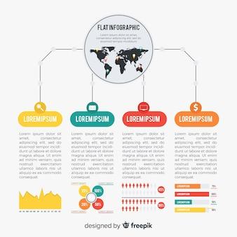 Modèle de conception infographique plat