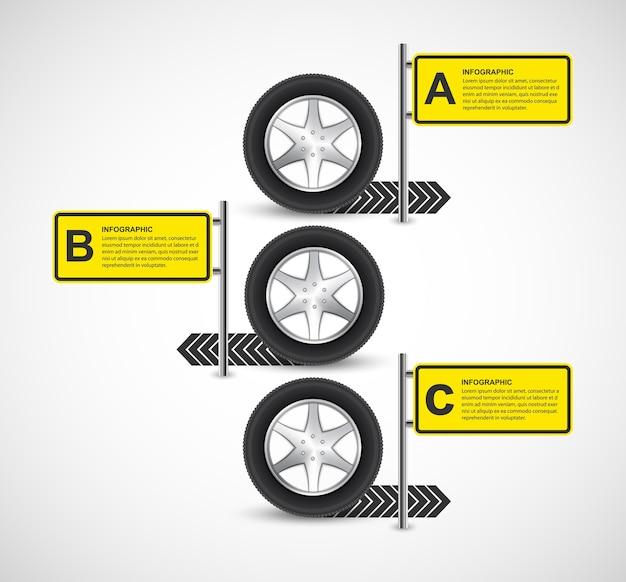 Modèle de conception infographique de roue de voiture.