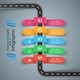 Modèle de conception infographique route et icônes de marketing. icône de la voiture.