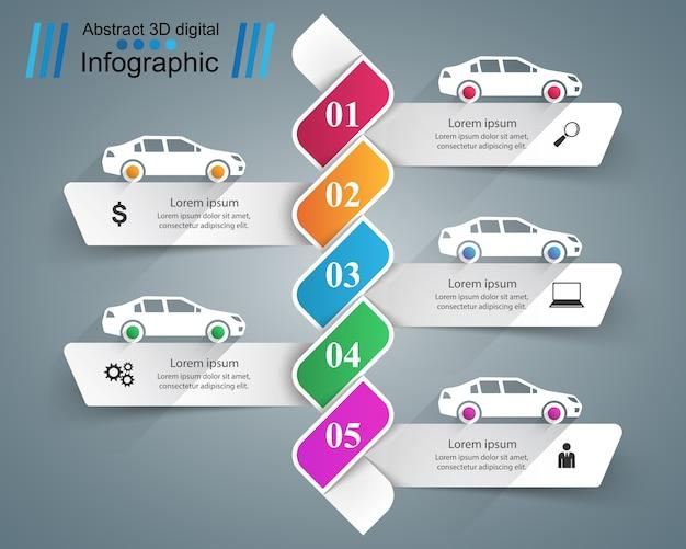 Modèle de conception infographique route et icônes de marketing