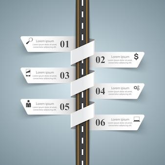 Modèle de conception infographique route et icônes de marketing.