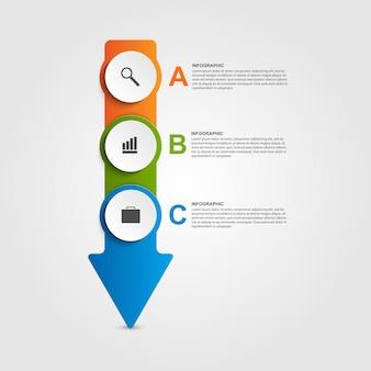 Modèle de conception infographique sous forme de flèches.
