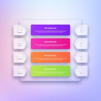 Modèle de conception infographique transparent moderne
