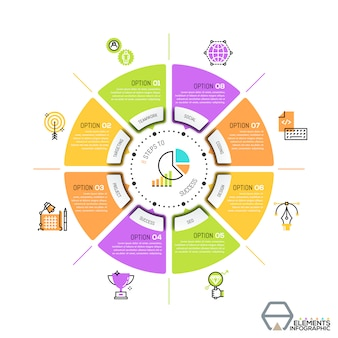 Modèle de conception infographique unique, diagramme circulaire ou camembert avec secteurs.