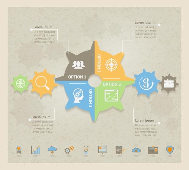 Modèle de conception infographique vector business concept gears