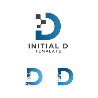 Modèle de conception initiale de lettre d pixels logo