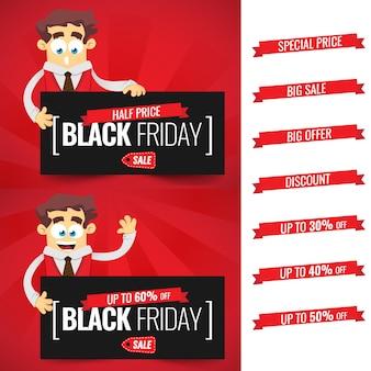 Modèle de conception d'inscription vente vendredi noir. dessin animé d'homme d'affaires offres avec offre, réduction, prix spécial