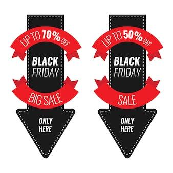 Modèle de conception d'inscription vente vendredi noir. illustration de la flèche