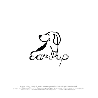 Modèle de conception d'inspiration de logo de chien
