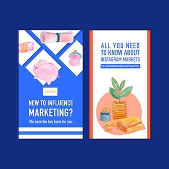 Modèle de conception instagram finance avec argent, monnaie, illustration aquarelle en espèces.
