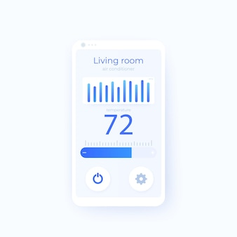 Modèle de conception d'interface utilisateur mobile d'application de thermostat