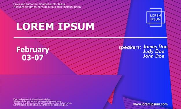 Modèle de conception d'invitation à la conférence, mise en page de flyer. fond géométrique. conception de couverture abstraite minimale. fond d'écran coloré créatif. affiche dégradée à la mode. illustration vectorielle.