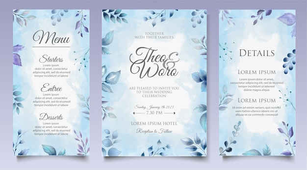 Modèle de conception d'invitation de mariage aquarelle