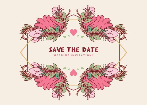 Modèle de conception d'invitation de mariage floral rose