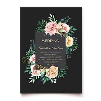 Modèle de conception invitation de mariage pivoines élégantes