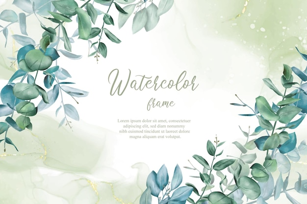 Modèle de conception d'invitation de mariage de verdure avec fond d'encre d'eucalyptus et d'alcool dessiné à la main