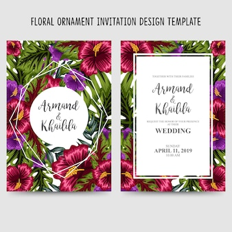 Modèle de conception invitation ornement floral