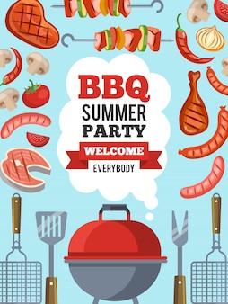 Modèle de conception d'invitation pour la fête barbecue