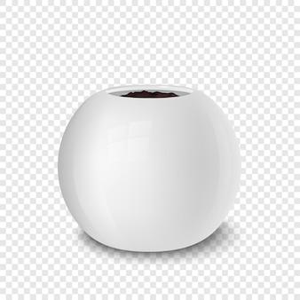 Modèle de conception isolé réaliste de pot de fleur vide pour la maquette de marque