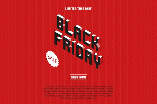 Modèle de conception isométrique de bannière «vente vendredi noir».