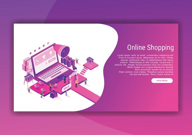 Modèle de conception isométrique de boutique en ligne