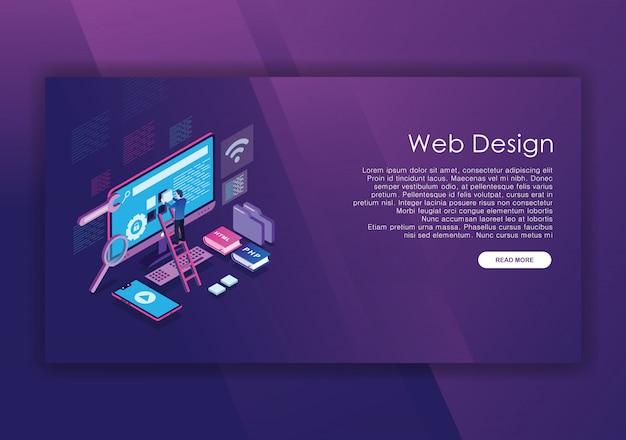Modèle de conception isométrique de construction de site web