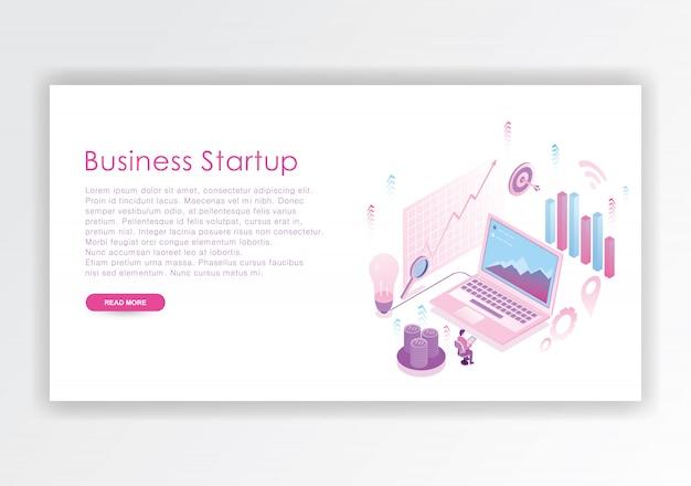 Modèle de conception isométrique de démarrage d'entreprise