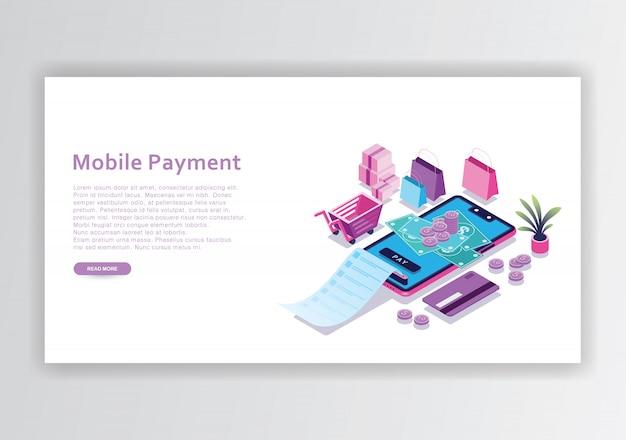 Modèle de conception isométrique de paiement mobile