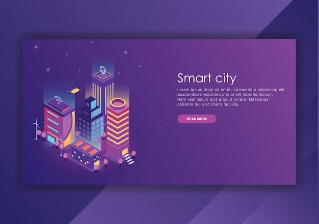Modèle de conception isométrique smart city