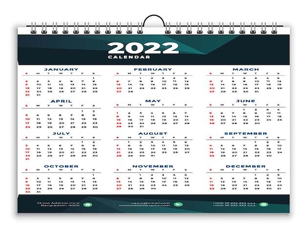 Modèle de conception jaune noir moderne calendrier 2022