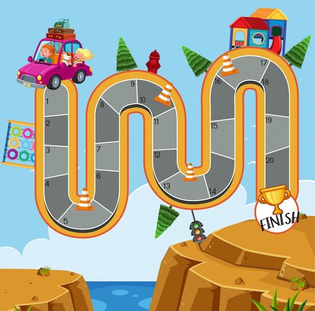 Modèle de conception de jeu avec voyage en famille sur la route