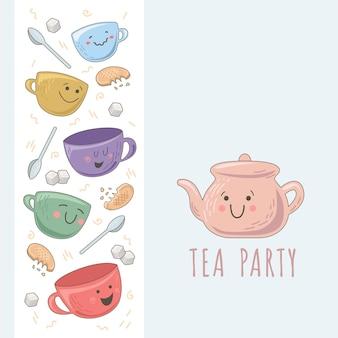 Modèle de conception avec une jolie théière, des tasses, des morceaux de sucre et des biscuits