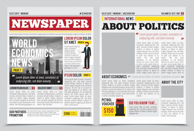 Modèle de conception de journal quotidien avec ouverture de deux pages titres modifiables cite des articles de texte et images vector illustration
