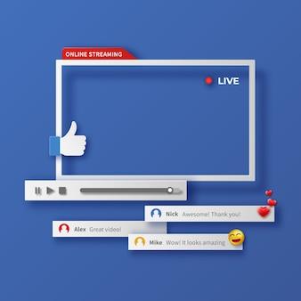 Modèle de conception de lecteur vidéo avec ombre, lecteur vidéo d'interface de modèle, canal vidéo de trame multimédia. contenu vidéo, blogs. concept de médias sociaux