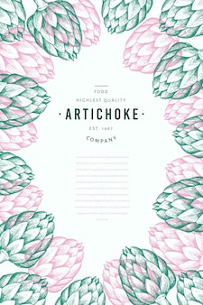 Modèle de conception de légume d'artichaut.